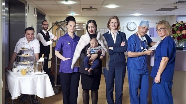 Beijing born Lu Hui, along with the team on hand to help new mothers at the Portland. Photo: BBC