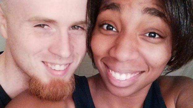 Danesha, 20, with her fiancee Jeffrey, 25