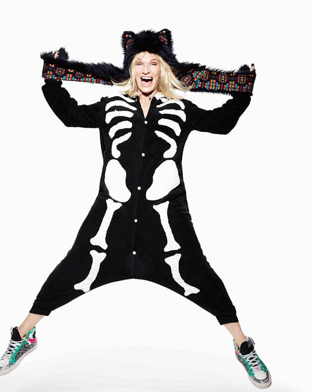 Radio 2 DJ Jo Whiley posed in an outfit selected by her two youngest children, Cassius (14) and Coco Lux (7)